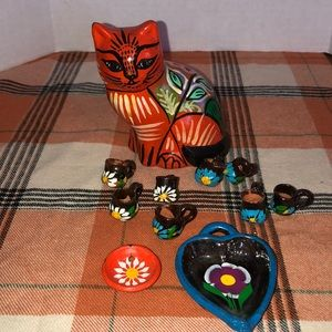 Tonala cat orange and mini cups